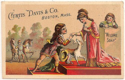 """Welcome Soap"" Curtis, Davis & Co. Boston MA Victorian Trade Card #2"