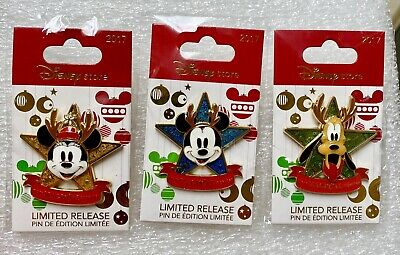 2017 DISNEY STORE EXCLUSIVE LIMITED RELEASE CHRISTMAS PIN SET OF 3 MICKEY PLUTO
