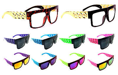 FLAT TOP SQUARE CHAIN ARM SUNGLASSES OVERSIZED THICK RETRO LUXURY HIP HOP (Flat Top Arms)