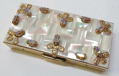 1950s Vintage Rhinestone & Mother of Pearl - Trinket Box Vanity Gold Tone Case