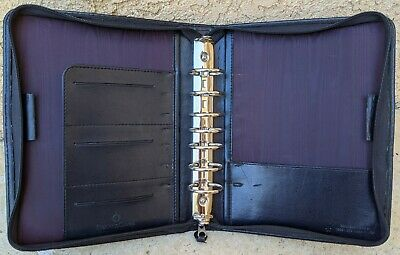 Vintage Franklin Covey 7 Ring Purple Black Simulated Leather Zip Planner Classic