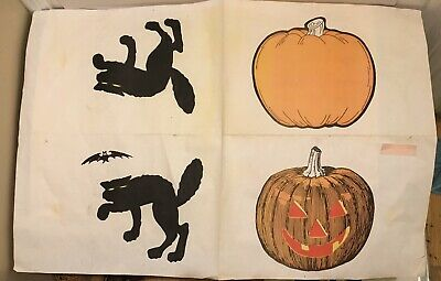 2 Large Vintage Sheets Halloween Craft Paper Patterns Jack O Lantern Black Cat