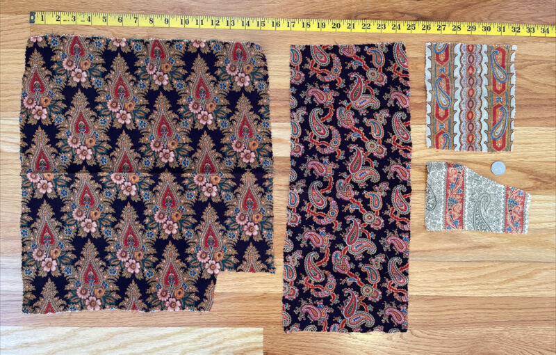 2 Pieces of Antique c. 1860-70 French Printed Paisley Wool Challis Fabric