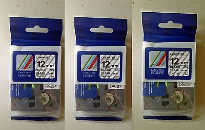 3 Tz131 12mm Black On Clear Tze131 Label Tapes For Brother P-touch 12 Tze131