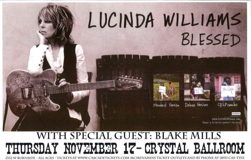 "LUCINDA WILLIAMS / BLAKE MILLS ""BLESSED"" 2011 PORTLAND CONCERT TOUR POSTER-Blues"