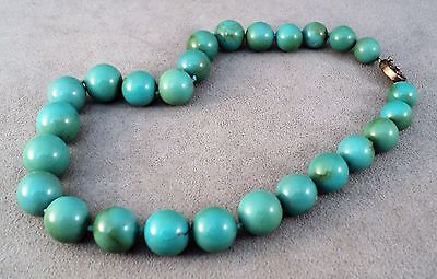 Vtg Antique Chinese Turquoise Round Graduated Bead Necklace - Needs Re-Stringing