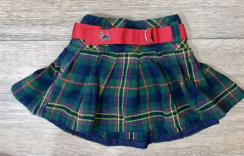 Ralph Lauren Plaid Toddler Girls Tartan Plaid Belted Pleated Mini Skirt 3T
