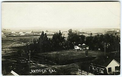 1900s BIRD'S-EYE VIEW TOWN of ANTIOCH CALIFORNIA~RARE REAL PHOTO RPPC POSTCARD