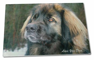 Leonberger Dog 'Love You Dad' Extra Large Toughened Glass Cutting, C, DAD-68GCBL