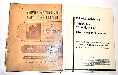 Cincinnati Rise Fall Milling Machine Manual Book Cincinnati P Lubricants