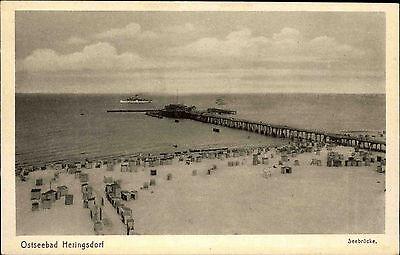 Heringsdorf Insel Usedom Ostsee s/w Postkarte ~1940 Blick auf die Seebrücke Boot
