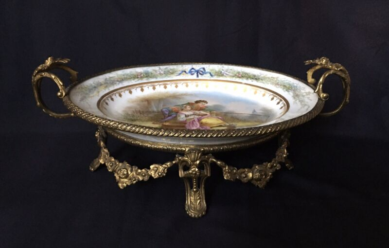 Early 19th Century Sevres France Gilt Bronze Mounted footed Centerpiece Dish