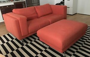 Two-Seat Sofa and Footstool Lilyfield Leichhardt Area Preview