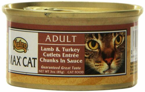 Nutro Max Cat Adult Lamb & Turkey Cutlets In Sauce Wet Cat Food 3 oz cans