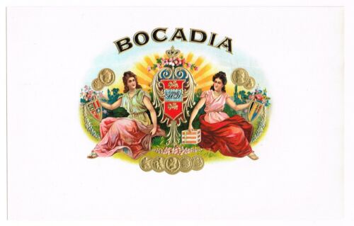 CIGAR BOX LABEL VINTAGE INNER 1920S BOCADIA EMBOSSED BRONZED COINS TWO LADIES