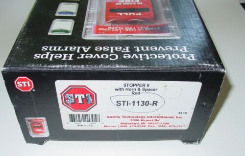 FIRE ALARM COVER STI-1130-R STOPPER II WITH HORN AND SPACER RED USA NOS
