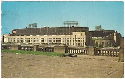 Standard Chrome Postcard, Cleveland Municipal Stadium, Indians, View from (Cleveland Mall)