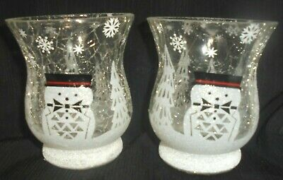 Yankee Candle 2x JACKSON FROST Crackle Glass Votive Holder ~ New in Boxes