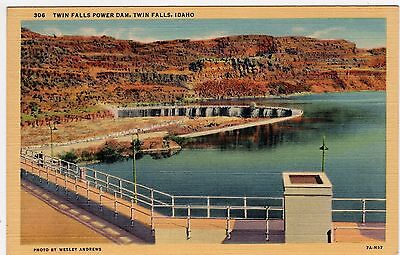 Vintage Twin Falls Power Damn Idaho Id Postcard