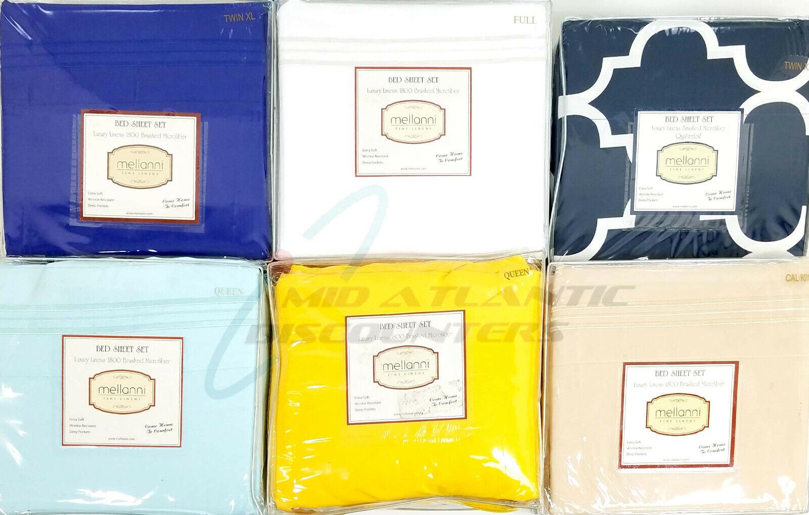 Mellanni 1800 Bed Sheet Set 100% Brushed Microfiber Wrinkle