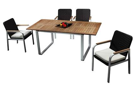new outdoor teak wood dining table and chairs set furniture rola