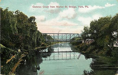 1907 1915 Postcard  Codorus Creek From Market Street Bridge  York Pa Posted