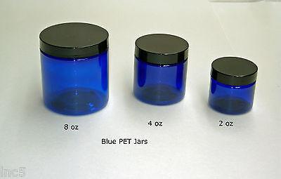 2oz to 8 oz  Blue  PET Straight Sided Plastic  Jars w/Smooth Plastic Cap ()