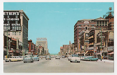 Topeka, Kansas, View Down Kansas Avenue/Shops, Cars c 1960