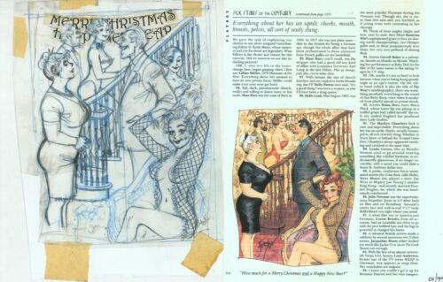 Doug Sneyd Original Pencil Preliminary Playboy Art Sketch ~ Christmas & New Year