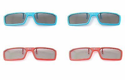 4 Pairs of Clip On 3D Glasses Red Blue Polorised Flip Up For LG Tv Cinema (Polorised Glasses)
