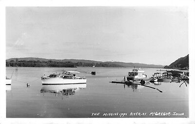 """McGregor Iowa~Yacht & Fishing Boat Rental Marked """"X"""" on Mississippi River  RPPC"""