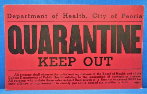 Quarantine Signs ~ 1930's & 40's Peoria, IL ~ 5 Different Obsolete Warning Signs