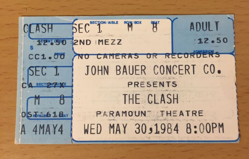 1984 THE CLASH SEATTLE CONCERT TICKET STUB JOE STRUMMER LONDON CALLING