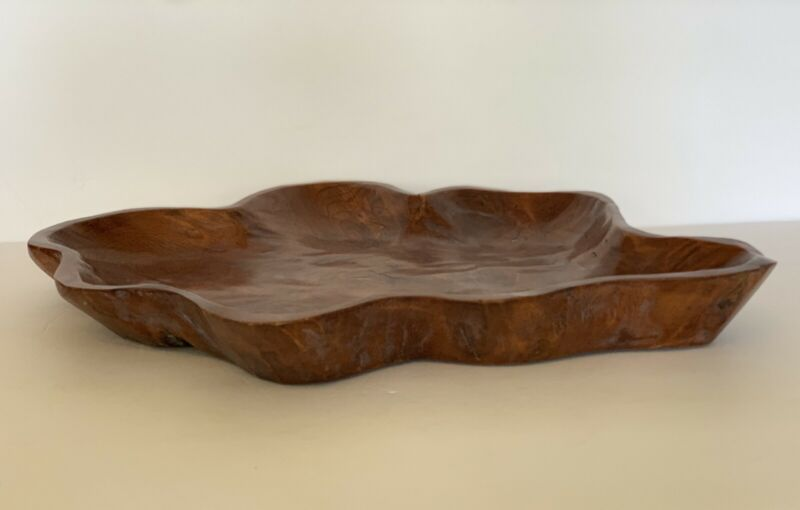 "Natural Wood Carved Bowl 18""X14.5"" Rustic Art Piece Live Edge Decorative"