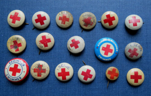 17 OLD RED CROSS PINS BUTTONS