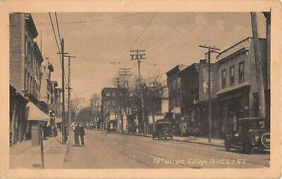 c.1920 Stores 13th St. College Point NY post card (Queen St Stores)