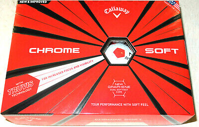 CALLAWAY TRUVIS LTD EDITION CHROME SOFT 'RED' GRAPHENE GOLF BALLS 1X12 NEW