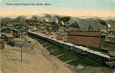 Montana, MT, Butte, Train Load of Copper Ore 1910's Postcard