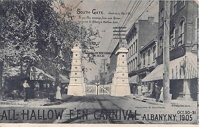 1905 Stores South Gate All Halloween Carnival Albany NY post card