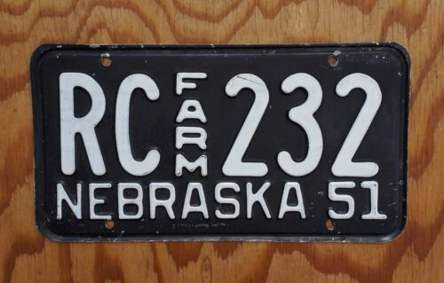 1951 RICHARDSON County Nebraska FARM License Plate # RC - 232