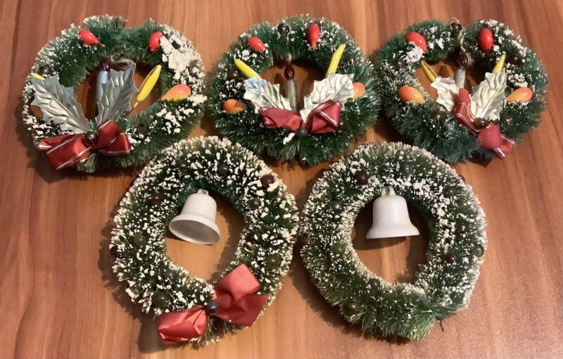 "Lot of 5 Vintage Christmas Bottle Brush Flocked Wreaths 4"" Bell Candle"