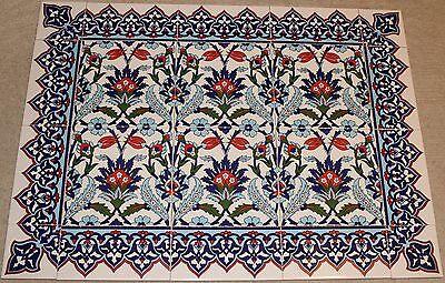 "Defective Blue 24""x32"" Turkish Iznik Floral Pattern Ceramic Tile Mural Panel"