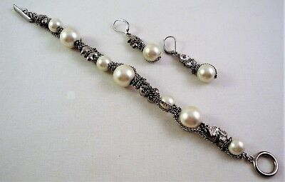 (Lovely GIVENCHY Faux Pearl BRACELET & DANGLE EARRING SET Clear Crystal & Chains)