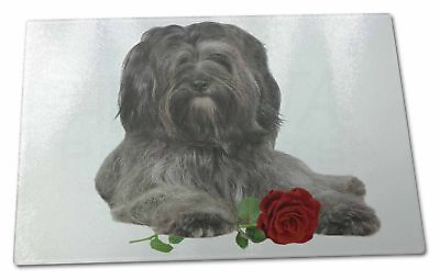 Tibetan Terrier with Red Rose Extra Large Toughened Glass Cutting, , AD-TT2RGCBL