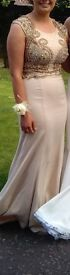 Beautiful formal/ prom/ wedding guest dress. Gold and cream. Embellished. Elegant