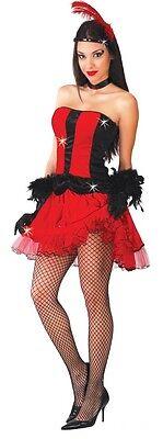 Donna Sexy Rosso Ballerina di Burlesque Can Can Velluto Costume Vestito 14-18