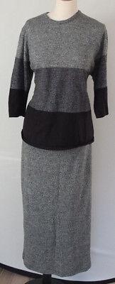 Traumhafter Schurwolle Kostüm Pullover Rock Long Cape Gr. XL - Traumhafte 3 Teilig Kostüm