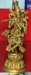 Brass krishna statue hindu lord sculpture figurine Idol for mandir temple decor