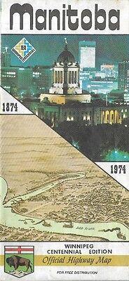 1974 MANITOBA Winnipeg Centennial Official Highway Road Map Flin Flon Canada