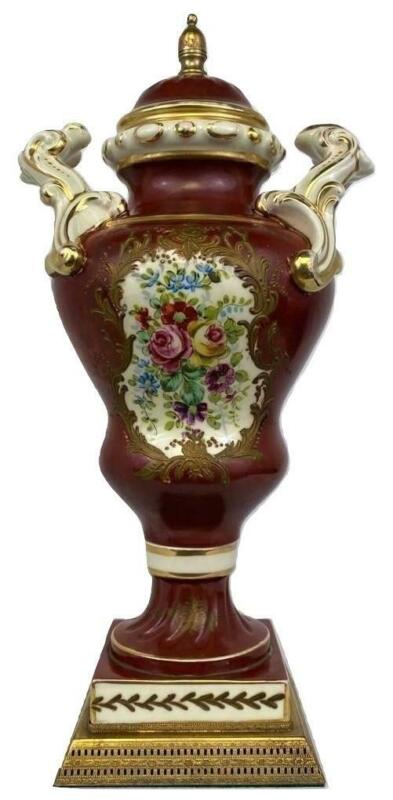 French Louis XV Rococo Porcelain Floral Painted Gilded Ormolu Urn Vase - Sevres?